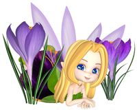 Cute Toon Purple Crocus Fairy, Lounging Royalty Free Stock Photo