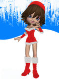 Cute Toon with Santas Suit Royalty Free Stock Images