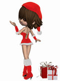 Cute Toon with Santas Suit Stock Images