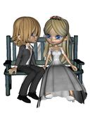 Cute Toon Wedding Couple - 2 Stock Image