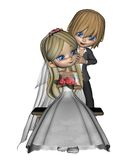 Cute Toon Wedding Couple - 3 Stock Photography