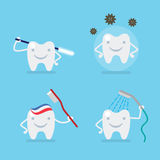 Cute tooth, brushing, protection - dental flat vector set Royalty Free Stock Images