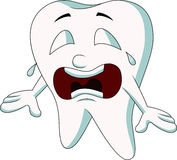 Cute tooth cartoon crying Royalty Free Stock Photography