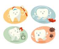 Cute tooth in different situations Royalty Free Stock Photo