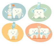 Cute tooth in different situations Stock Image