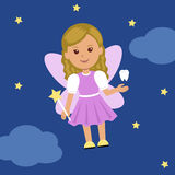 Cute Tooth Fairy in a dress with wings and a magic wand Stock Photography