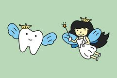 Cute tooth fairy flying with healthy teeth. Dental cartoon vector flat style cute character for design stock illustration