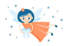 A cute tooth fairy holding a milk tooth royalty free illustration