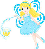 Cute Tooth Fairy. Little tooth fairy turns into a coin royalty free illustration