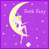 A cute tooth fairy sits on the moon. Holds a tooth. Stars on the background. Beautiful concept for children`s dentistry Royalty Free Stock Image