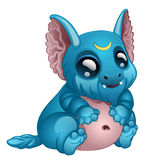 Cute toothy blue monster with big eyes and ears Royalty Free Stock Photo