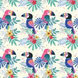 Cute  toucans bird with  with tropical flowers seamless pattern stock illustration