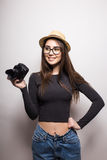 Cute tourist girl with photo camera Royalty Free Stock Photography