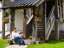 Cute tourist resting in the Kremlin in Novgorod the Great Royalty Free Stock Images