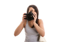 Cute tourist taking picture. Isolated Stock Photos