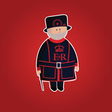 Cute Tower of London beefeater character Royalty Free Stock Photos