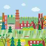 Cute town and nature seamless pattern for kids. Vector graphic illustration Royalty Free Stock Photos