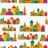 Cute town pattern Stock Photos