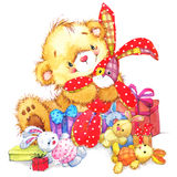 Cute toy bear and toy bunny illustration Royalty Free Stock Image