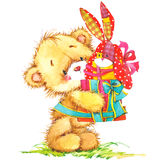 Cute toy bear and toy bunny illustration Royalty Free Stock Photography