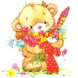 Cute toy bear and toy bunny illustration Stock Photo