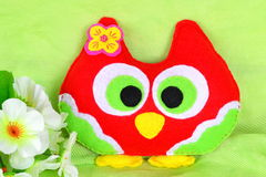 Cute toy owl. Handmade children's toy bird. Felt crafts Royalty Free Stock Image