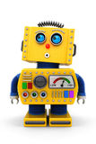 Cute toy robot looking up. Yellow toy robot is looking surprised up in the air Royalty Free Stock Images
