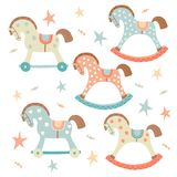 Cute toy rocking horse set. Kids First Toys. Baby shower design element. Cartoon vector hand drawn eps 10 illustration. Isolated on white background royalty free illustration