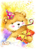 Cute toy teddy bear and Birthday card background. Stock Photo