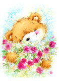 Cute toy teddy bear and Birthday card background. Watercolor illustration Stock Photography