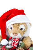 Cute toy tiger with Christmas wreath Royalty Free Stock Images