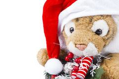 Cute toy tiger with Christmas wreath Royalty Free Stock Image