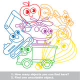 Cute toy transport mishmash set in vector. Cute toy transport mishmash set in vector outlined to be colored. Find all hidden objects on the picture. Easy Stock Photography