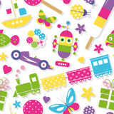 Cute toys, hearts, flowers and butterflies pattern. Illustration of colorful train, robot, race car, hearts, flowers, fish, butterflies, present, ladybugs, boat Stock Images