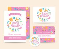 Cute Toys Theme Baby Shower Invitation Card Illustration Template. Cute Baby Shower Invitation Card Illustration Template, suitable for print, brochure, flyer Stock Photography