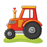 Cute tractor in a clearing. Royalty Free Stock Image