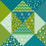 Cute traditional green patchwork pattern. Royalty Free Stock Image