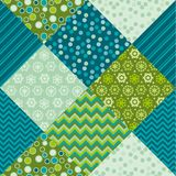 Cute traditional green patchwork pattern. Stock Photo