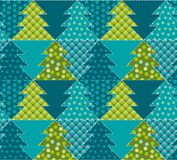 Cute traditional patchwork concept seamless pattern. Christmas tree textile vector illustration. Repeatable motif for  wrapping paper, fabric, background Stock Photography