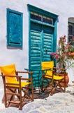 Cute traditional tavernas of Greece. Amorgos island Stock Photos