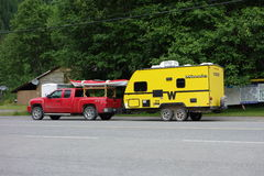 A cute trailer at a campground Stock Photo