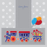 Cute train with boxes and baloons on a gift card Royalty Free Stock Photography