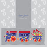 Cute train with boxes and baloons on a gift card Stock Photos
