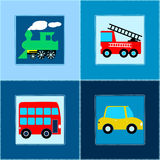 Cute Train Bus Car and Fire truck children seamless pattern.  Royalty Free Stock Image