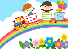 Cute train with kids and dog Royalty Free Stock Photo