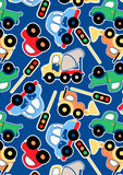 Cute transport. Vector illustration of cars and trucks in a repeat pattern Stock Photo