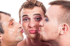 Cute transvestites kissing Royalty Free Stock Photography