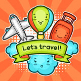 Cute travel background with kawaii doodles. Summer collection of cheerful cartoon characters cloud, airplane, balloon Royalty Free Stock Photo