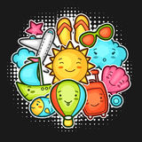 Cute travel background with kawaii doodles. Summer collection of cheerful cartoon characters sun, airplane, ship Royalty Free Stock Photography