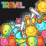 Cute travel background with kawaii doodles. Summer collection of cheerful cartoon characters sun, airplane, ship Royalty Free Stock Photo